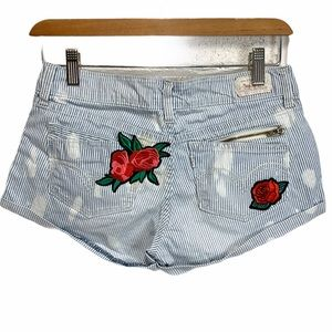 Levi's 1 bleached rose patches striped Jean shorts